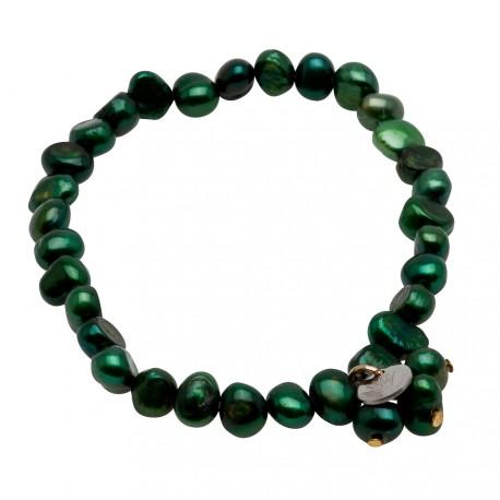 Julianna Bracelet in Dark Green Pearls