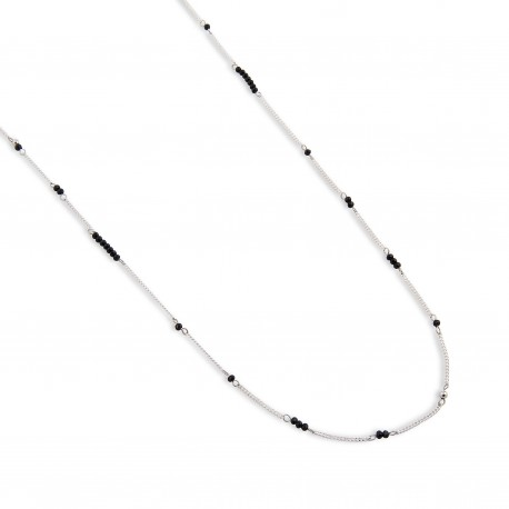 Reggie Necklace in Black and Silver