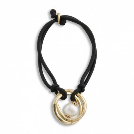 Freshwater Pearl w. Gold on Black Hair Tie