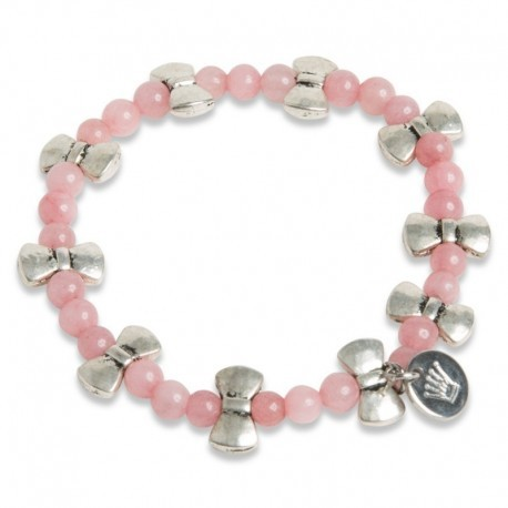Bow Bracelet in Pink Jade