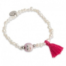 Jovita Bracelet with Bright Pink Tassel