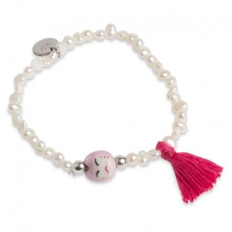 Jovita Bracelet with Bright Pink Tassel