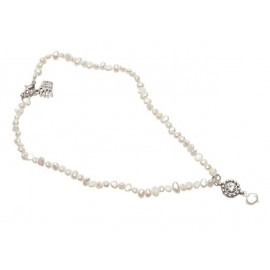 White Pearl with Flower Necklace
