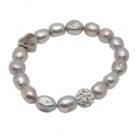 Greta Bracelet in Grey Pearls
