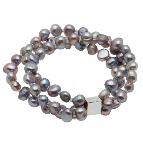 Viktoria Bracelet in Grey Pearls