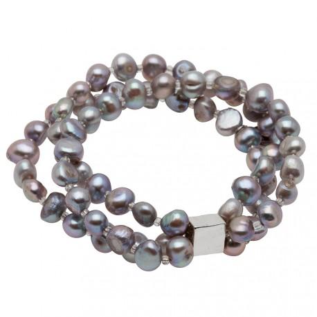 Viktoria Bracelet in Grey Pearls