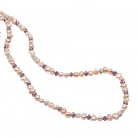 Maxima Necklace in Pink Pearls and Crystals
